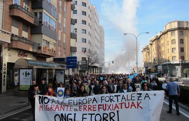 Manifestantes, durante una de las concentraciones que han tenido lugar este domingo.