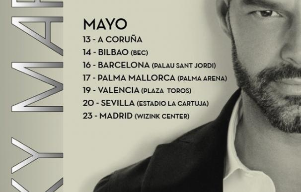 Ricky Martin, en mayo en A Coruña, Bilbao, Barcelona, Palma de Mallorca, Valencia, Sevilla y Madrid
