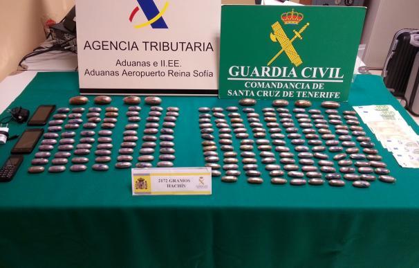 Detenidos en el Aeropuerto Tenerife Sur al intentar introducir más de dos kilos de hachís