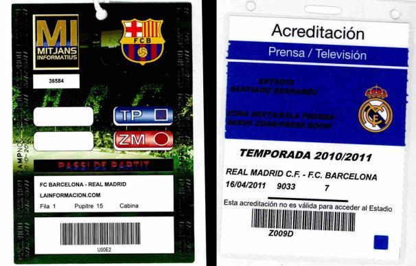 Acreditaciones de prensa del Barcelona y el Real Madrid