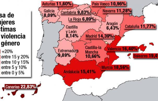El mapa de la violencia de género en España