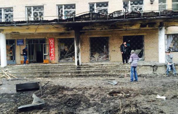 Imagen del hospital atacado en Donetsk subida a Twitter por el corresponsal de RT
