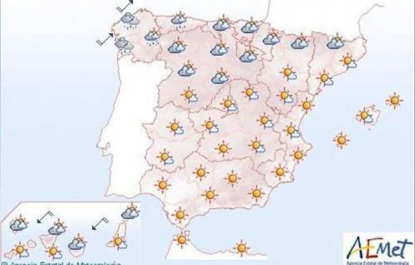 Temperaturas altas en localidades de los valles del Ebro y del Tajo