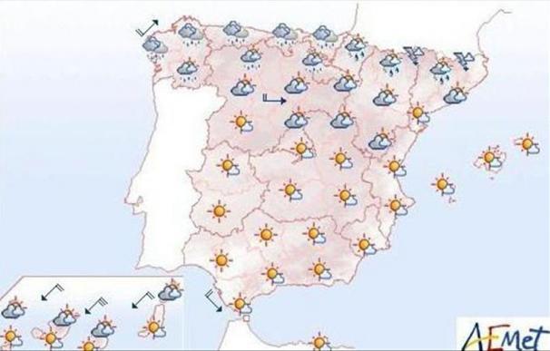 Mañana domingo, temperaturas altas en los valles del Ebro y Guadalquivir