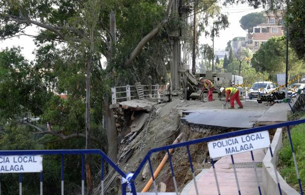 El Ayuntamiento de Málaga cifra en más de 600.000 la reparación de daños por lluvias en Cerrado de Calderón