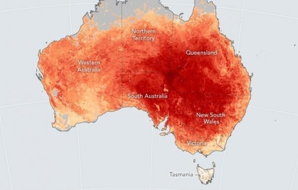 Mediciones por satélite de más de 60 grados en el centro de Australia