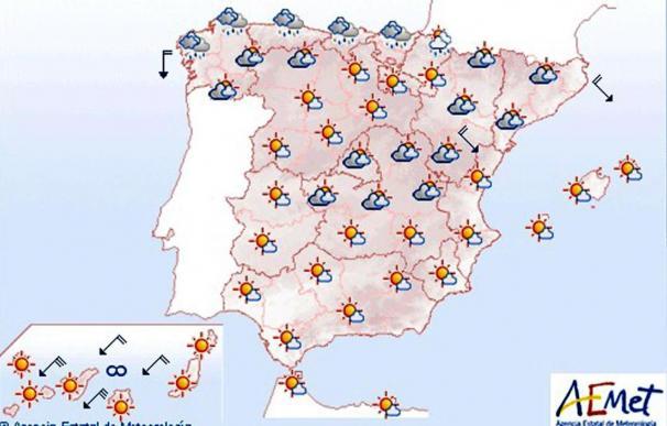 Mañana, predominio de poco nuboso y temperaturas altas en las Islas Canarias