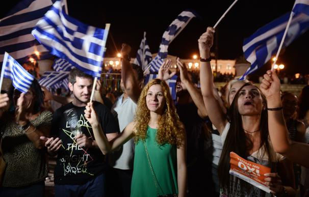 Celebración de la victoria del 'no' en Grecia