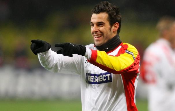 Álvaro Negredo celebra su gol contra el CSKA de Moscú
