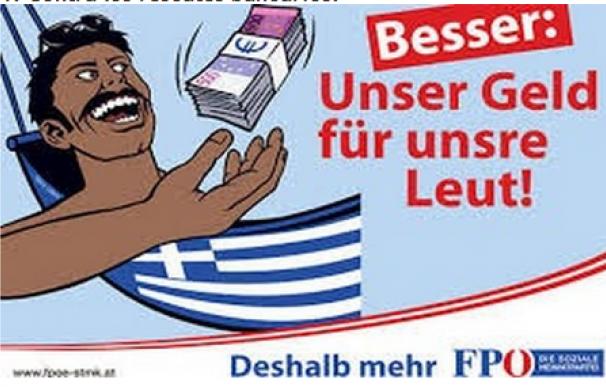 Cartel de la fuerza de ultraderecha de Austria contra los rescates