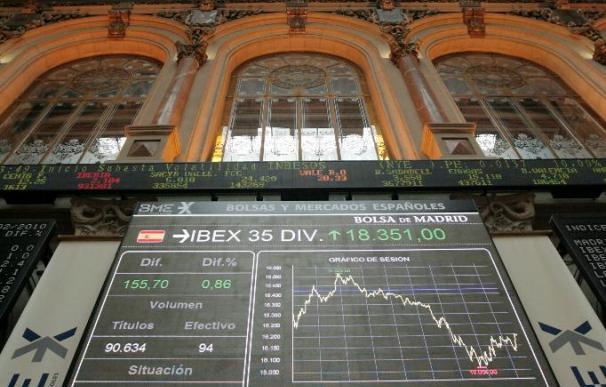 La Bolsa española aumenta el rebote y el Ibex sube el 1,56 por ciento a mediodía