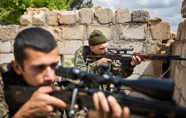 Combatientes de EEUU contra el Estado Islámico en Siria.