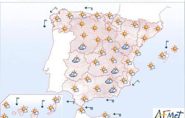 Mañana, temperaturas altas en Andalucía y viento fuerte en Gerona y Galicia