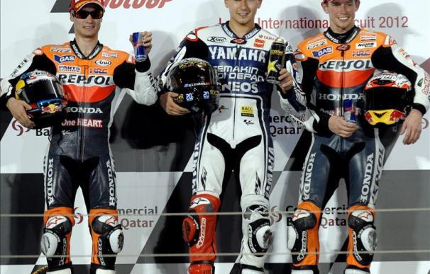 Jorge Lorenzo y Dani Pedrosa subieron al podio en el GP de Qatar, primera prueba del Mundial
