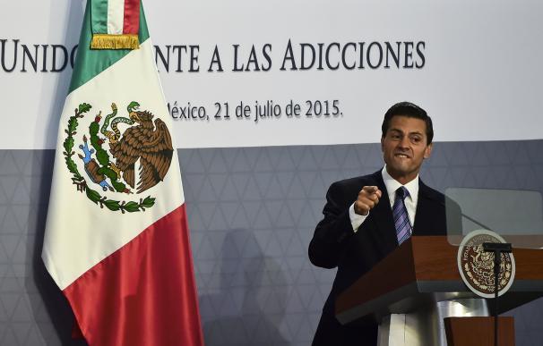 Mexican President Enrique Pena Nieto delivers a sp