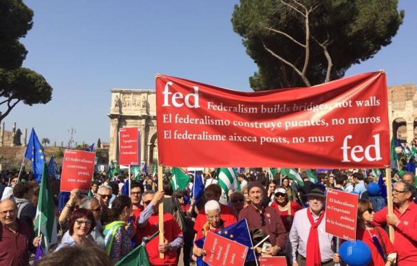 Federalistes d'Esquerres pide una España federal en la 'Marcha por Europa' de Roma