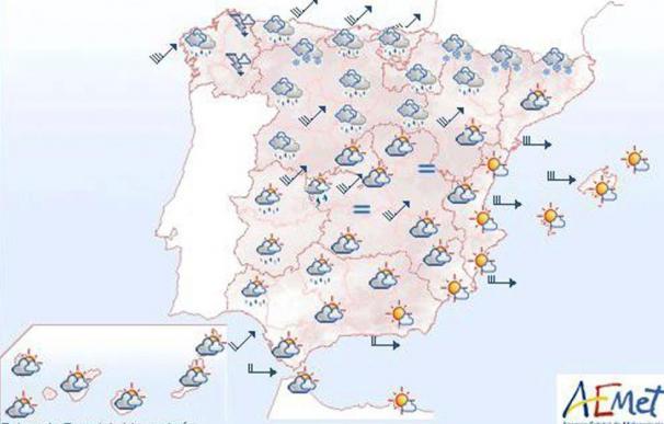 Mañana, lluvias en la vertiente atlántica, que serán persistentes en Galicia