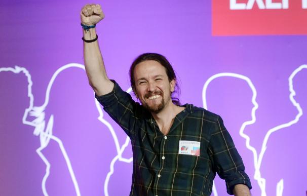 Pablo Iglesias, líder de Podemos, en la plaza Syntagma de Atenas el 18 de septiembre