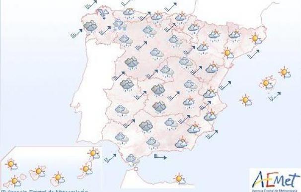 Vientos muy fuertes en numerosas zonas de la Península y lluvias en Galicia