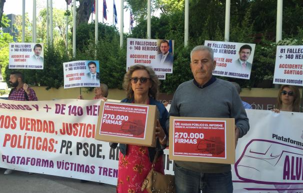 Las víctimas del Alvia reclaman una investigación independiente y piden a la Comisión Europea que publique su informe