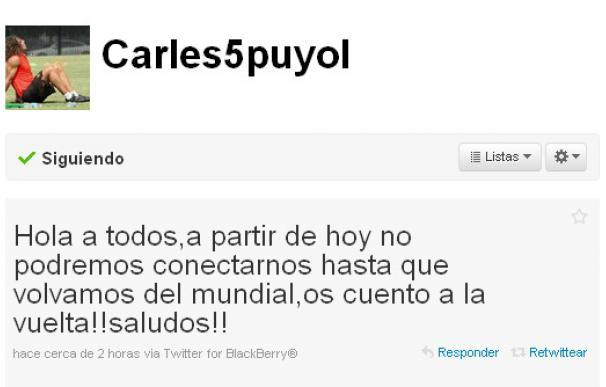 Puyol confirma la prohibición de usar las redes sociales durante el Mundial