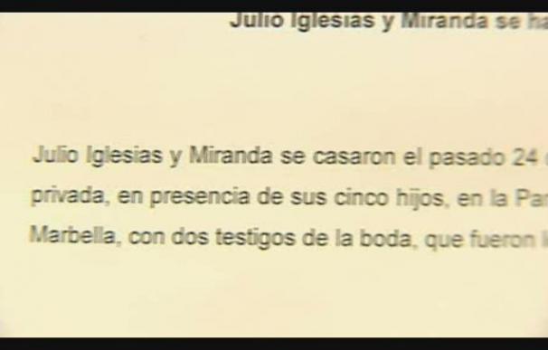 Boda secreta de Julio Iglesias y Miranda