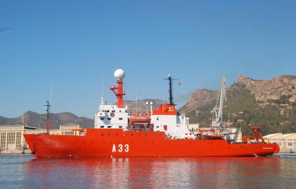 El buque 'Hespérides' comienza la campaña 'Zona Económica Exclusiva Española' 2014 en el mar Cantábrico