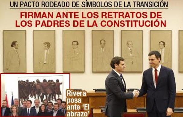 Sánchez y Rivera firman un pacto rodeados de símbolos de la Transición