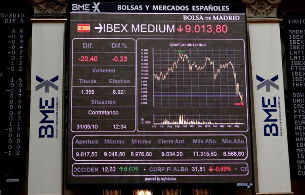 La Bolsa española cae un 3,03 por ciento y baja hasta los 9.586,5 puntos