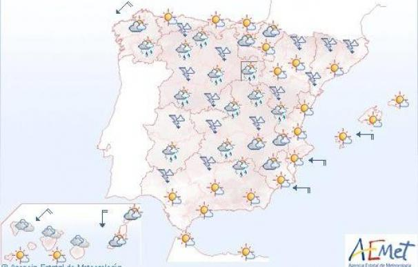 Posibilidad de lluvias fuertes en puntos de Castilla-León y centro peninsular