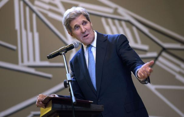 US Secretary of State John Kerry speaks during the