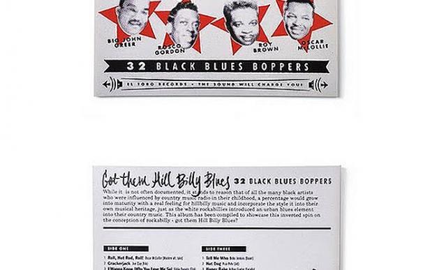 El diseñador Iván Castro brilla por sus trabajos de lettering en carteles y portadas de CD de rock and roll como la portada de 'Hill Billy Blues' o 'El Toro Records'