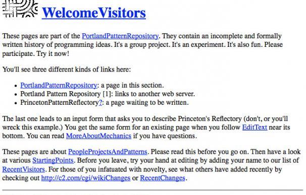 El primer wiki del mundo en enero de 1998