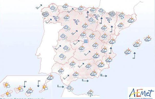 Lluvia y descenso térmico en el Atlántico y posibilidad de lluvia en el resto