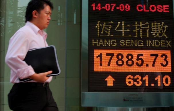 El índice Hang Seng sube 94,94 puntos, 0,45% en la apertura, hasta 21.148,05