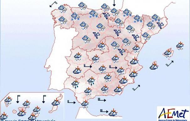 Chubascos generalizados que serán localmente fuertes en el cuadrante nordeste