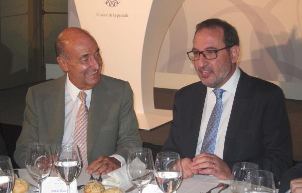 Roca, este martes, con el candidato de UDC, Ramón Espadaler.