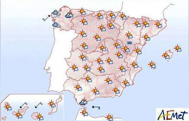 Cielo poco nuboso, excepto en Galicia donde habrá lluvias débiles