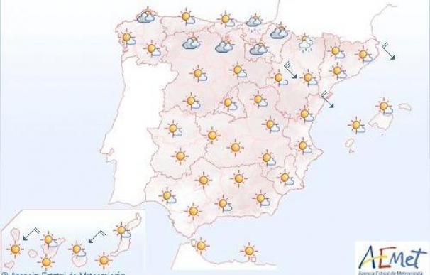 Lluvias débiles en el norte y buen tiempo en el resto de España hasta el martes