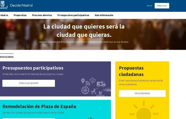 La web de participación ciudadana Decide Madrid supera las 100.000 personas registradas y el millón de visitas