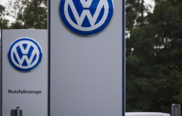 The Volkswagen logo is seen at a Volkswagen dealer