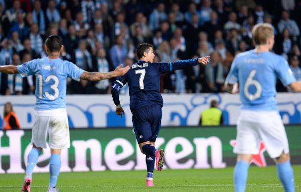 Cristiano Ronaldo celebra el gol que abrió el marcador ante el Malmö (AFP)