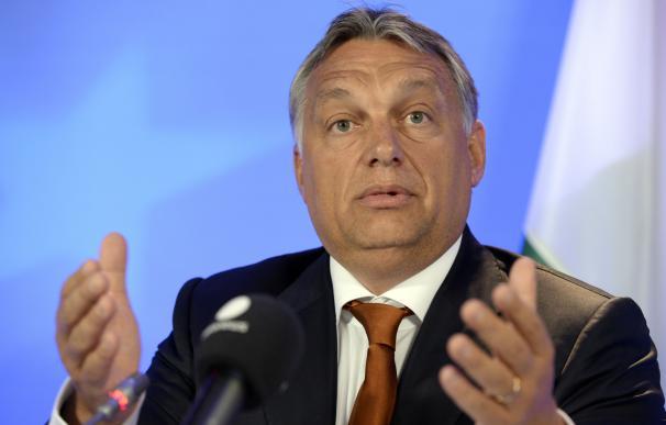 Hungary's Prime Minister Viktor Orban speaks durin