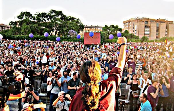 El secretario general de Podemos, Pablo Iglesias, en un mitin.