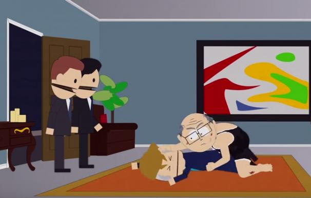 Fotograma de la escena de la violación de Trump en South Park