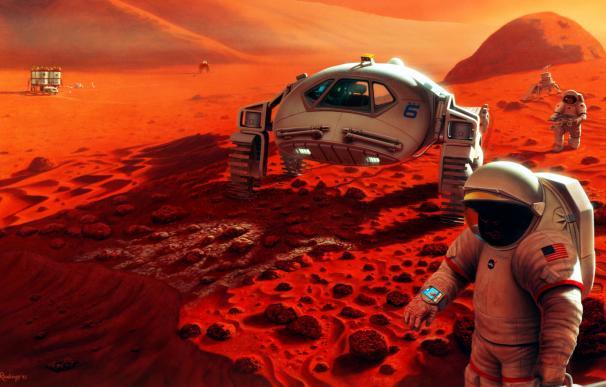 Recreación de la llegada del hombre a Marte. (NASA)