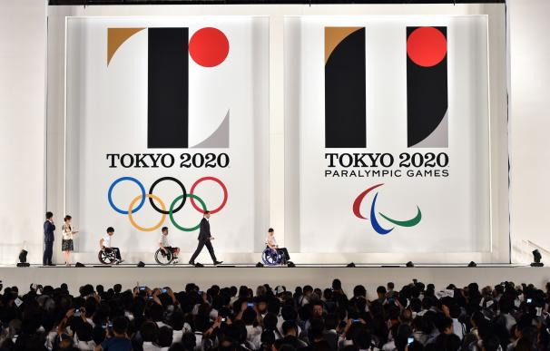 The logo marks of the Tokyo 2020 Olympic (L) and P
