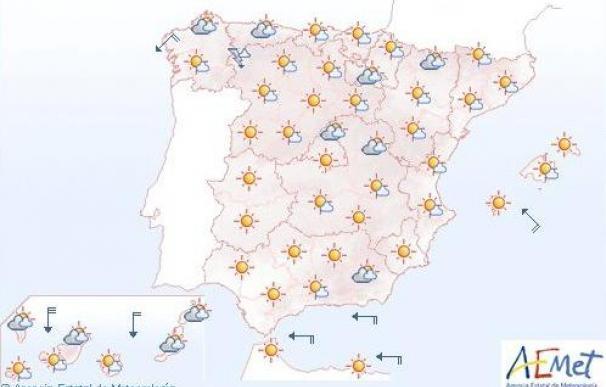 Mañana, temperaturas altas en el sur y centro de la Península