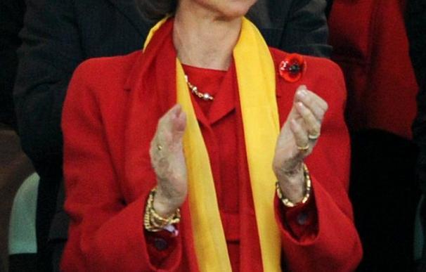 La Reina Sofía, en el palco del Alemania - España