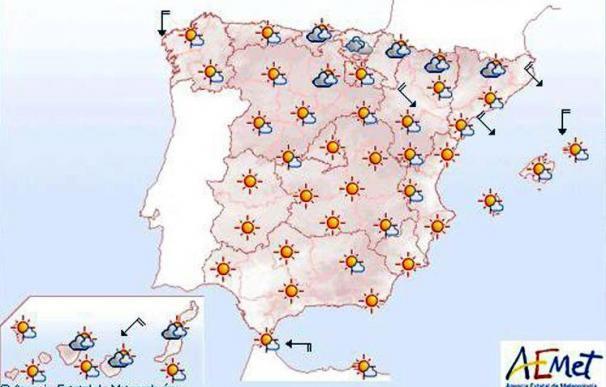 Temperaturas altas en valles del Guadiana y Guadalquivir y viento en el Ebro